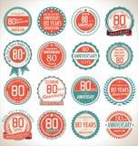 Coleção da etiqueta do aniversário, 80 anos Imagens de Stock