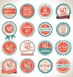 Coleção da etiqueta do aniversário, 40 anos Fotos de Stock Royalty Free