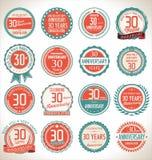 Coleção da etiqueta do aniversário, 30 anos Imagens de Stock
