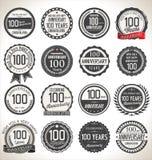 Coleção da etiqueta do aniversário, 100 anos Fotos de Stock Royalty Free