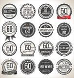 Coleção da etiqueta do aniversário, 60 anos Foto de Stock Royalty Free