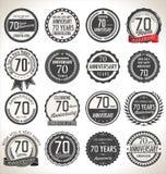 Coleção da etiqueta do aniversário, 70 anos Foto de Stock Royalty Free