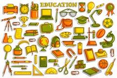 Coleção da etiqueta para o objeto da educação Imagens de Stock