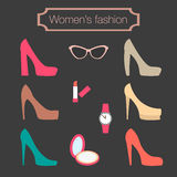 Coleção da forma das mulheres de sapatas alto-colocadas saltos Fotografia de Stock