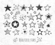 A coleção da garatuja do grunge stars no fundo do papel de arroz Ilustração do vetor ilustração do vetor