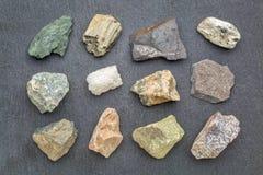 Coleção da geologia da rocha metamórfica Fotos de Stock