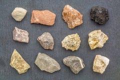 Coleção da geologia da rocha sedimentar Fotos de Stock