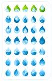 Coleção da gota da água Fotografia de Stock
