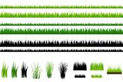 Coleção da grama, isolada no branco. Vetor Fotos de Stock