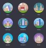 Coleção da ilustração do vetor das cidades do mundo ilustração stock