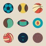 Coleção da ilustração do vetor do vintage do ícone da bola do esporte Fotografia de Stock Royalty Free
