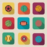 Coleção da ilustração lisa do projeto do ícone da bola do esporte Imagens de Stock