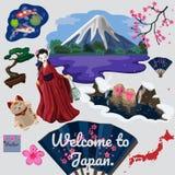 Coleção da imagem japonesa tradicional viajada do vetor dos elementos ilustração royalty free