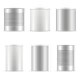Coleção da lata de lata Recipientes brancos com tampão e metal plásticos Fotos de Stock Royalty Free