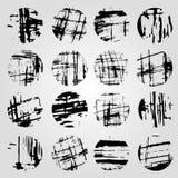 Coleção da linha monocromática da faixa do grunge em um fundo claro Foto de Stock