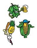 Coleção da mascote das frutas e legumes Foto de Stock Royalty Free