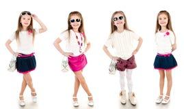 Coleção da menina feliz adorável das fotos fotografia de stock royalty free