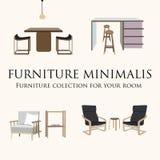 Coleção da mobília para sua sala ilustração royalty free