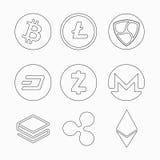 A coleção da moeda cripto inventa o traço Zcash Monero Nem Stratis Ripple Ethereum de Bitecoin Litecoin Nem Ícone liso ilustração royalty free