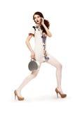 Coleção da mola. A mulher da forma com bolsa veste o vestido moderno. Feriado Imagens de Stock