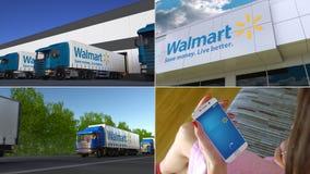 Coleção da montagem de atividade empresarial relacionada da empresa de Wal-Mart Stores Animação editorial video estoque