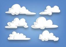 Coleção da nuvem do estilo dos desenhos animados, grupo de nuvens - ilustração Imagens de Stock