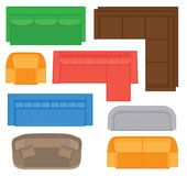 Coleção da opinião superior da mobília para o design de interiores Grupo de tipos diferentes dos sofás para a planta baixa Imagem de Stock