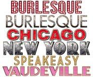 Coleção da palavra do Burlesque do famoso de Broadway ilustração do vetor