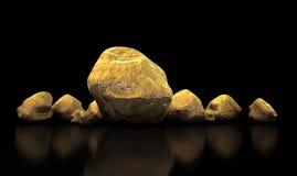 Coleção da pepita de ouro Imagens de Stock