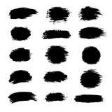 Coleção da pintura preta, cursos da escova da tinta, escovas, linhas, sujas Elementos artísticos sujos do projeto, caixas, círcul Fotos de Stock Royalty Free