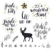 Coleção da rotulação do Feliz Natal e do ano novo Imagem de Stock Royalty Free
