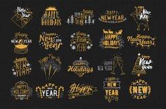 Coleção da rotulação tirada de 2018 anos mão nova feliz festiva decorada com elementos do feriado - fogos-de-artifício, champanhe Ilustração Stock