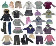 Coleção da roupa das crianças fotografia de stock