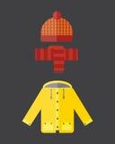 A coleção da roupa do outono ajustou artigos a ilustração amarela vermelha do vetor do Parka da capa de chuva do revestimento das Foto de Stock Royalty Free