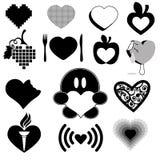 Coleção 1 da silhueta do coração do amor Foto de Stock