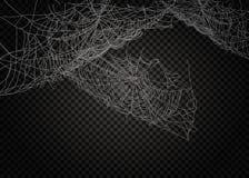 Coleção da teia de aranha, isolada no fundo preto, transparente Imagens de Stock Royalty Free