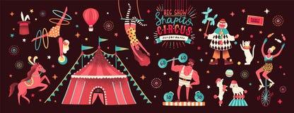 Coleção da tenda do circus e de executores engraçados da mostra - palhaço, homem forte, acrobatas, animais treinados, artista de  ilustração royalty free