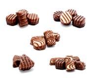 Coleção da variedade das fotos do isolador dos doces dos doces de chocolate foto de stock