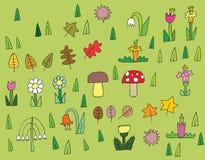 Coleção da vegetação dos desenhos animados nas cores Imagens de Stock