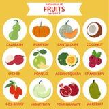 Coleção da versão três dos frutos, ilustração do vetor do alimento Fotos de Stock Royalty Free