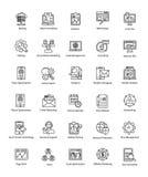 A coleção da Web e Seo alinham ícones do vetor Fotografia de Stock Royalty Free