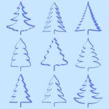 Coleção das árvores de Natal Imagens de Stock Royalty Free