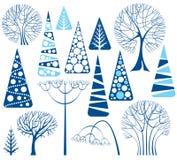 Coleção das árvores do inverno Fotos de Stock