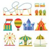 Coleção das atrações e dos elementos do parque de diversões ilustração stock