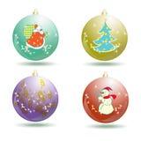 Coleção das bolas do Natal isoladas no branco Fotos de Stock Royalty Free