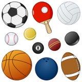 Coleção das bolas & dos objetos do esporte dos desenhos animados Fotos de Stock