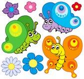 Coleção das borboletas dos desenhos animados Imagem de Stock