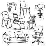 Coleção das cadeiras ilustração royalty free
