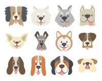 Coleção das caras bonitos do cão ilustração stock