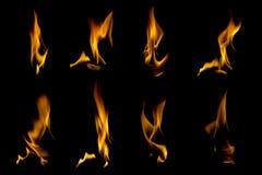 Coleção das chamas no preto Imagem de Stock Royalty Free